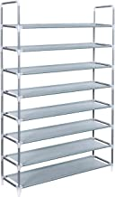 "SONGMICS 8 Tiers Utility Steel Shoe Rack Shoe Storage Organizer Cabinet Tower Stackable Shelves Holds 40 Pairs of Shoes - 39 3/8"" x 11 1/8"" x 56 1/4"" Grey ULSR08G"