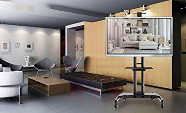 TV Cart,Floor Tv Stand Mount,+90°of Height Adjust 360°of Swivel for 32-60 Inch with Wheels Mobile Bedroom Living Room Confere