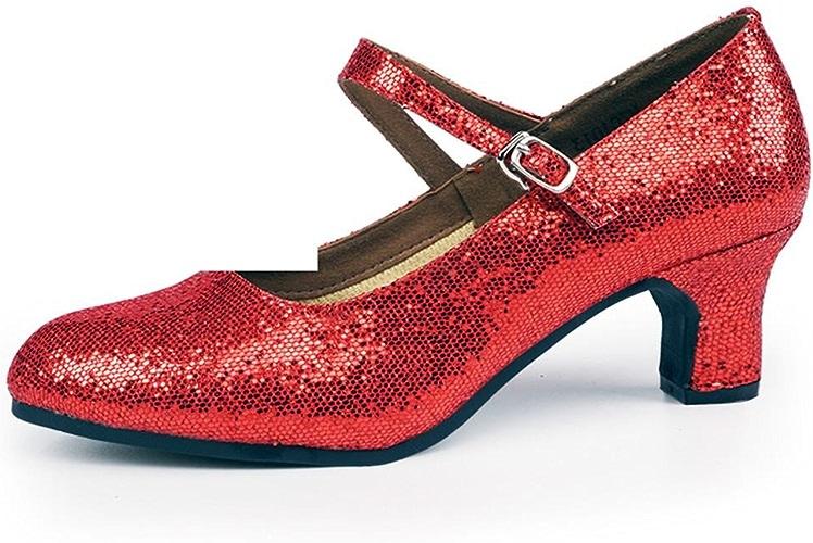 BYLE Sangle de Cheville Sandales en Cuir Chaussures de Danse Modern'Jazz Samba Chaussures de Danse Latine avec des Chaussures de Femmes Adultes de Sexe féminin à la Fin de la Rouge 3.5CM