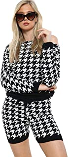 EASY BUYY Dogtooth Jumper Shorts Loungewear Set Voor Dames 2-delig Co-Ord Suit