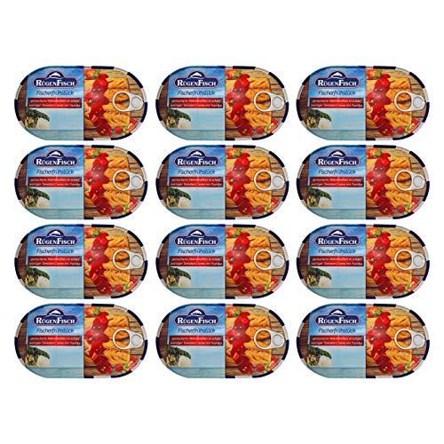 12er Pack RügenFisch Fischerfrühstück 12 x 200 g Fichbüchse Dosenfisch Makrelenfilet Fischdose