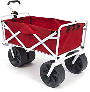 Mac Sports Heavy Duty Collapsible Folding All Terrain Utility Wagon Beach Cart - Red/White