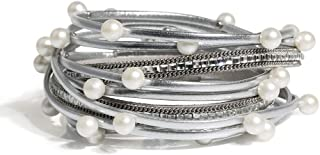 Artilady Pearl Leather Wrap Bracelet - Handmade Bohemian Wrap Clasp Bangle Bracelet for Women