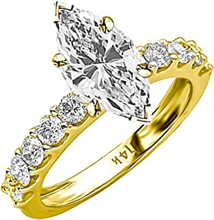 1.9 Carat t.w. GIA Certified Marquise Cut 14K White Gold Classic Side Stone Prong Set Diamond Engagement Ring (G-H Color VS1-VS2 Clarity)