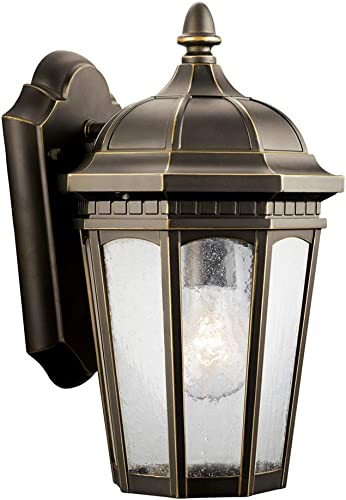 discount Kichler Lighting 9032RZ Courtyard - One Light Outdoor outlet sale online sale Wall Mount, Rubbed Bronze Finish with Clear Seedy Glass sale