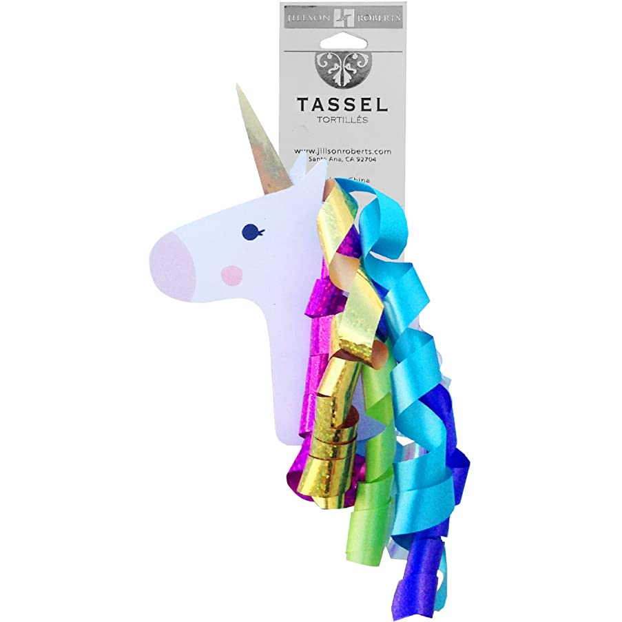 Jillson Roberts 6-Count Self-Adhesive Unicorn Gift Topper with Curly Ribbon Mane