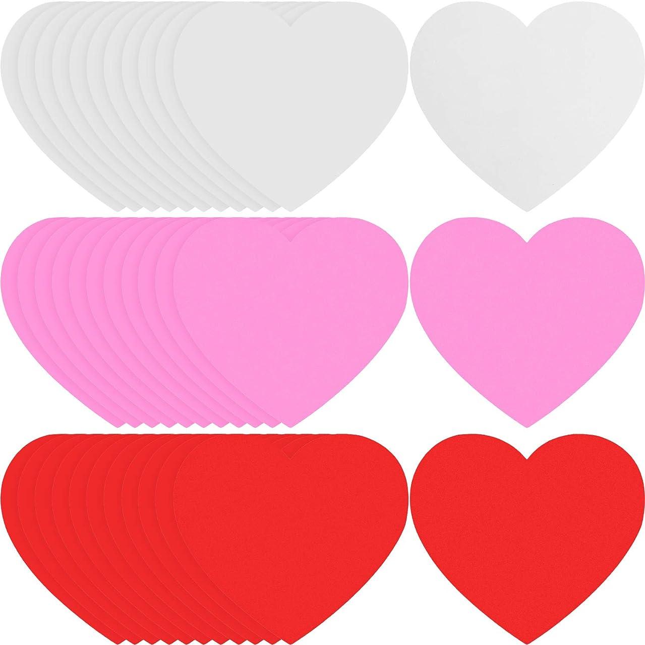TecUnite 36 Pieces Valentine's Day Foam Heart Valentine Craft Heart Decor Heart Shape Foam, 5.5 by 4.3 inch, 3 Colors