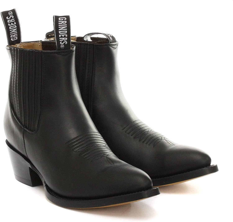 Grinders Maverick svart Ankle Drag on Cow Boy herr herr herr Western läder stövlar UK  global distribution