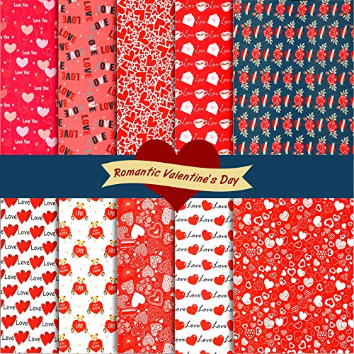 Irenare 10 Pieces Valentine's Day Fabric Heart Love Roses Romantic Cotton Fabric Quilting Patchwork Sewing Bundle Fat Quarters Precut Flower Fabric Scraps for Holiday DIY Craft, Red (12 x 16 Inch)