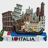 Imán para nevera 3D con 6 atracciones de Italia, incluye Venecia, Torre inclinada de Pisa, Florencia, Coliseo, Catedral de Milán, Siena, decoración para el hogar y la cocina