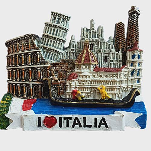 MUYU Magnet Calamita da frigo 3D con 6 attrazioni dell'Italia, Include Venezia, Torre di Pisa, Firenze, Colosseo, Cattedrale di Milano, Siena, Decorazione per la casa e la Cucina