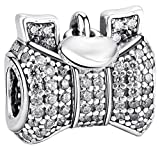SaySure - 925 Sterling Silver Charms Hearts Bow Zircon European -