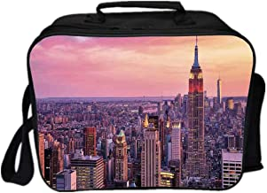 Cityscape Environmental Lunch Ice Bag,New York City Midtown with Empire State Building Sunset Business Center Rooftop Photo for Travel Picnic,One size