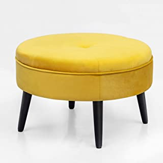 Joveco Fabric Round Ottoman Foot Rest Stool (Yellow)