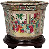 Oriental Furniture 10' Rose Medallion Porcelain Flower Pot