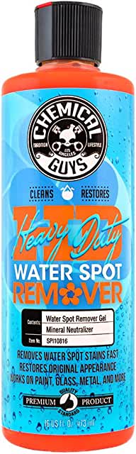 Bottle of water spot remover product.