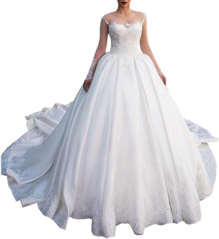 Ellystar Women's Mondern Ball Gown Satin Long Sleeve Zipper Jewel Bridal Dresses