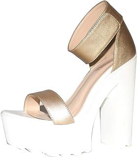 GGBLCS Femmes Plateforme Talon Bloc Sandales Escarpins Bride À La Cheville Bout Ouvert Chaussures De Soirée Mariage