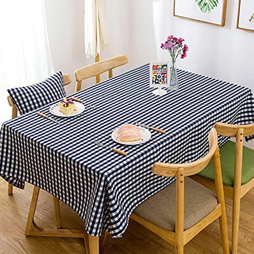 NHhuai Mesa de Comedor Lavable Cubierta de Lino de Tela con Tela Escocesa Impermeable de Hilo de poliéster teñido en Hilo