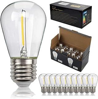 TIANFAN - Lote de 10 bombillas LED S14 con filamentos LED, rosca Edison E27 2700 K, luz blanca cálida, 1 W