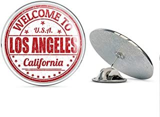 TG Graphics Los Angeles California Grunge Welcome Travel Stamp Art Round Metal Lapel Pins Cute Cool Hat Shirt Pin Tie Tack Pinback