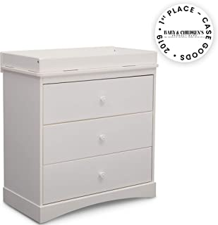 Delta Children Sutton 3 Drawer Dresser with Changing Top, White