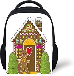 iPrint Kids School Backpack Gingerbread Man,Cute Gingerbread House Decorated with Colorful Candies Man Graphic Figure,Multicolor Plain Bookbag Travel Daypack
