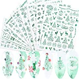 9 Sheets Christmas Winter Nail Art Stickers Dccals 3D Self-adhesive Green Santa Claus Christmas Tree Snowflakes Snowman Elk Flower Candy Leaf Pattern Designs For Women Girls Nail Supplies Decorations
