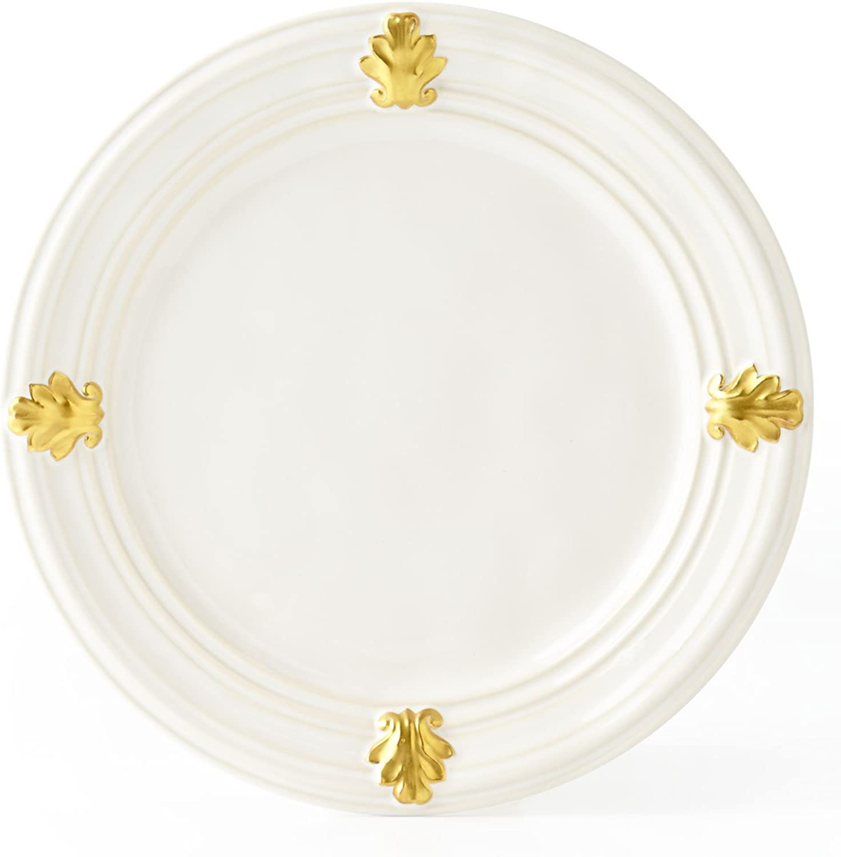 Juliska Acanthus Dessert Salad Plate White gold 9 W