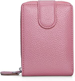 Leather Leather Driver's License Leather Case Leather Card Holder Zipper Wallet Multi-Function Driving License Waterproof (Color : Pink, Size : S)