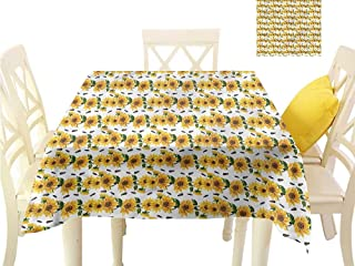 WilliamsDecor Table Cloths Spill Proof Sunflower,Continuous Blooming Flora Outdoor Tablecloth W 60