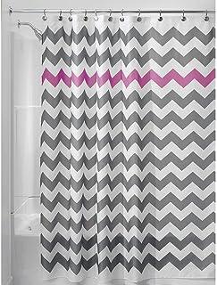 InterDesign Chevron Shower Curtain, 72 x 72-Inch, Gray/Orchid