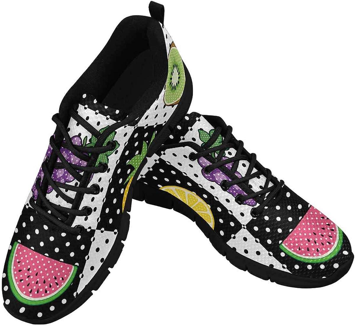 INTERESTPRINT Kiwi Lemon Grapes Pineapple Women's Breathable Comfort Mesh Fashion Sneakers