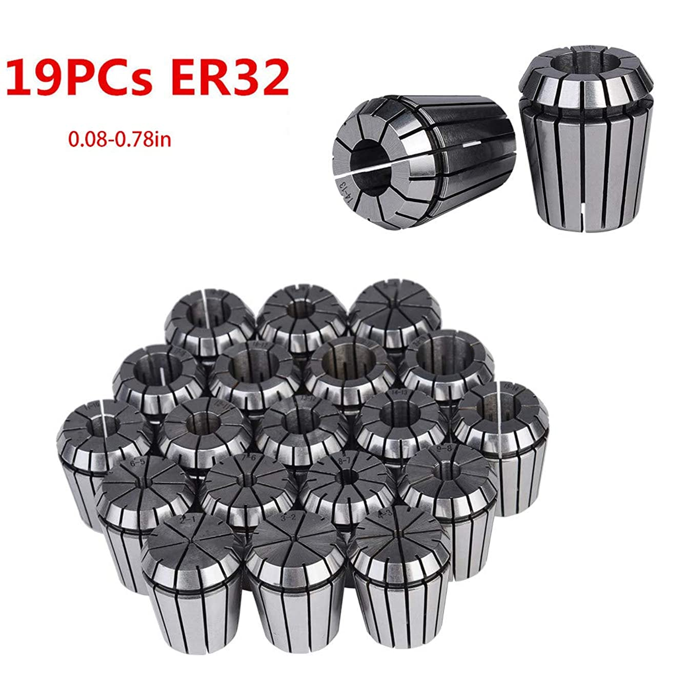 Besde Car Accessories 19 pcs Precision Spring Collet Set, ER32 Collet Chuck Tool Holder Set for CNC Engraving Machine & Milling Lathe Tool Workhold (Sliver)