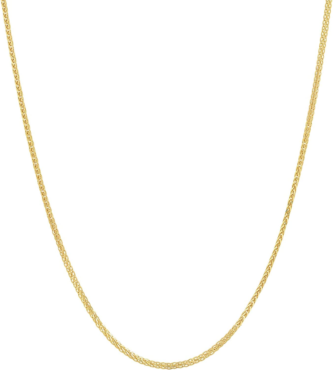 Jewelry Pilot 14K Yellow Gold 1mm Square Wheat Chain Necklace with Lobster Claw Clasp
