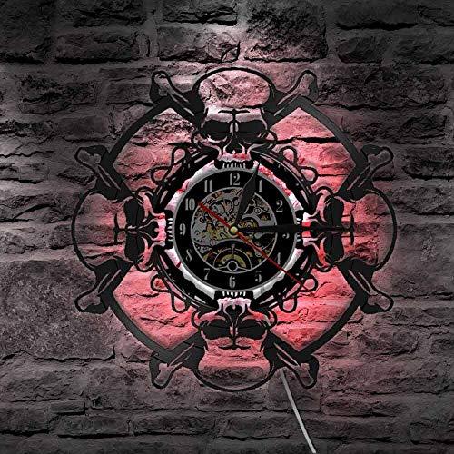 jiushixw Retro Schedel Koptelefoon Vinyl LP Recording Wandklok Retro Schedel Vorm Nachtlicht Muziekklok LED achtergrondverlichting Wandklok