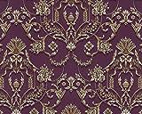 Papier peint baroque EDEM 81201BR45 papier peint intissé gaufré à chaud avec des ornements et des accents métalliques pourpre violet-pourpre bronze argent 10,65 m