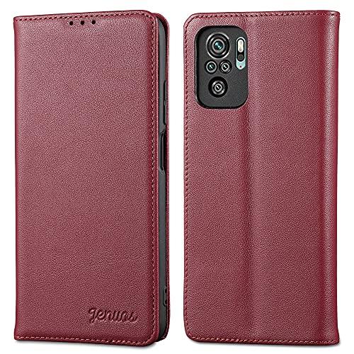 Jenuos für Xiaomi Redmi Note 10 Hülle Leder,Xiaomi Redmi Note 10S Handyhülle Klappbar Schutzhülle Flip Cover mit [Magnetic Closure] [Card Slot] [Kickstand] -Wein Rot(MN10-PD-WR)