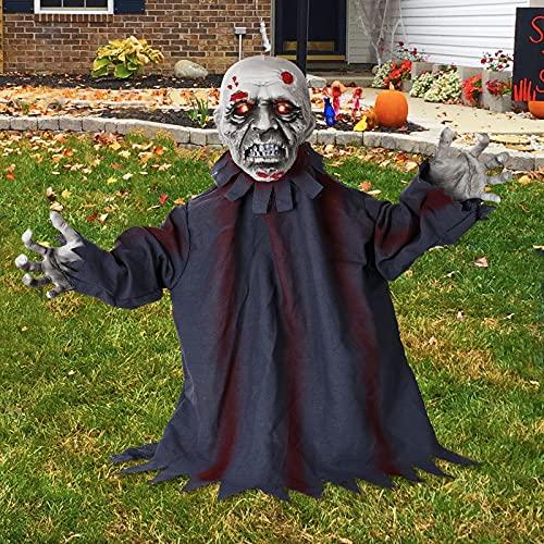 HXS Halloween Decorations Groundbreaker Zombie Halloween Props Animated Movable Zombie Groundbreaker with LED Glowing…