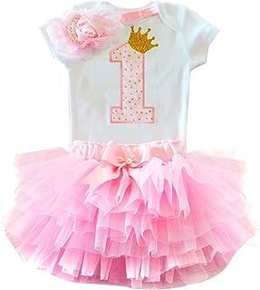 TTYAOVO Mädchen Rock Neugeborenen 3er Babys 1 Geburtstag Set/Outfits mit Romper  Tutu Kleid  Stirnband