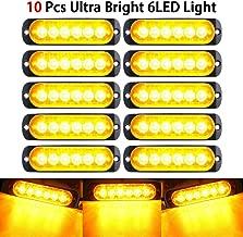 DesirePath Emergency Strobe Lights, Universal 10-Pack 6 LED 18W Surface Mount Amber 12V Warning Hazard Flashing Strobe Light Bar for Off Road Vehicle, ATVs, Truck