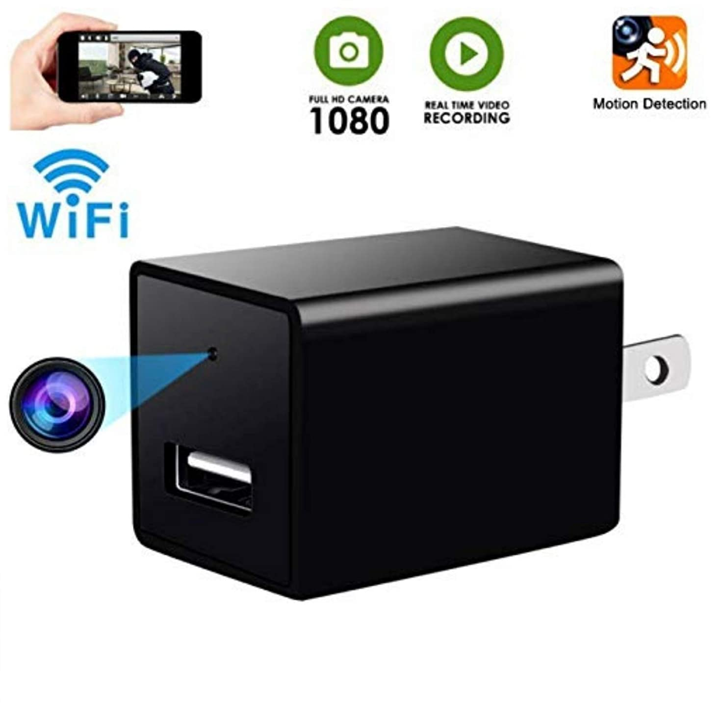 Hidden Camera- WiFi Spy Camera- HD Hidden Camera- Spy Camera Charger- Motion Detection- Nanny Camera- USB Hidden Camera- Surveillance Camera- Hidden Camera Spy- Viewing with Phone APP