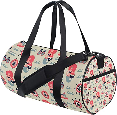 mermaid Duffel Bag,Canvas Travel Bag for Gym Sports and Overnight