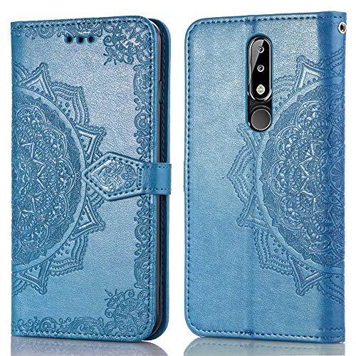 Bear Village Hülle für Nokia 5.1 Plus, PU Lederhülle Handyhülle für Nokia 5.1 Plus, Brieftasche Kratzfestes Magnet Handytasche mit Kartenfach, Blau