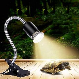 Reptile Heat Lamp, UVB Basking Light Bulb Holder 35/50W Clip-on Aquarium Amphibians Turtle Tortoise Spider Lizard Frog Hed...
