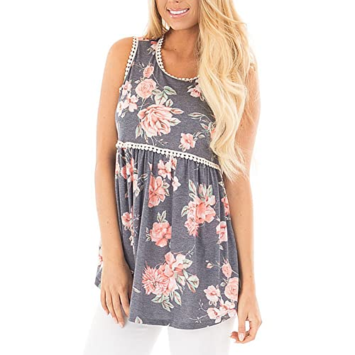 5f23cc6f1e4 KUREAS Women s Sleeveless Shirt Floral Print T-Shirt Summer Loose Tank Top