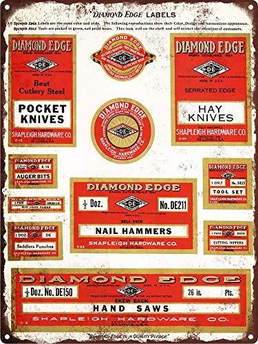 Yohoba 1935 Diamond Edge Labels Hammer Mes Saw Man Cave Metalen Teken Repro 12