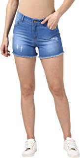 StyleStone Women's Denim Blue Ripped Shorts (3601ShortsRipped)