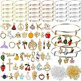 480Pcs Expandable Bangle Bracelets Jewelry Making Charms for Bangle Bracelets Adjustable Wire Blank Bracelets with Enamel Charms Jump Open Rings for DIY Craft Bracelets