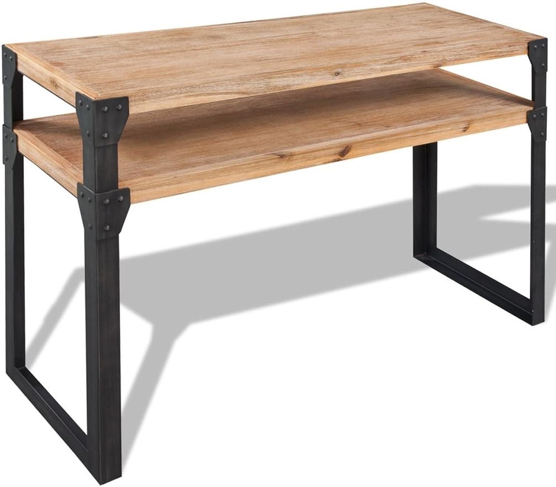 VidaXL Solid Acacia Wood Console Table 120x40x85cm with 1 Shelf Desk Furniture